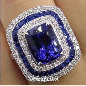 Art Deco Blue Sapphire, White Pave Topaz Ring